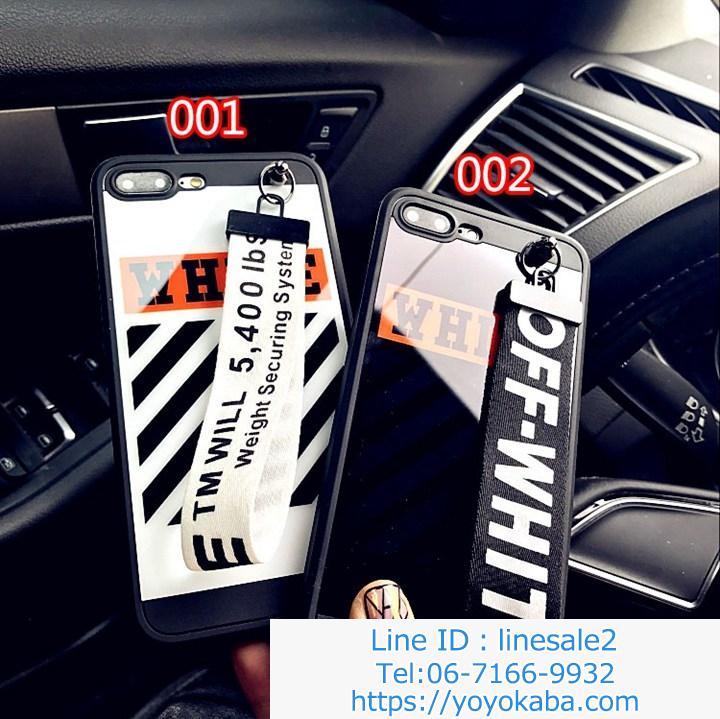 縞模様携帯カバー iphone8plusケース オフホワイト