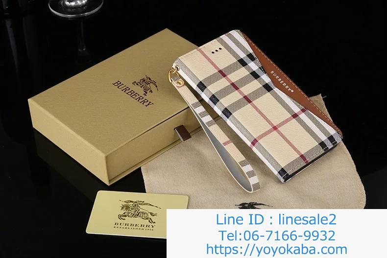 iphone8/7plus手帳ケース ストラップ付き バーバリー